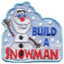 Build, Snowman, Olaf, Snow, Frozen, Cold, Winter, Patch, Embroidered Patch, Merit Badge, Badge, Emblem, Iron On, Iron-On, Crest, Lapel Pin, Insignia, Girl Scouts, Boy Scouts, Girl Guides