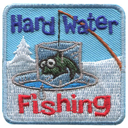 A fish is frozen in a block of ice, suspended above a hole cut in the water. The fish dangs by a fishing line attached to a fishing rod. The words 'Hard Water' are embroidered at the top of this patch and 'Fishing' rests below the fish.