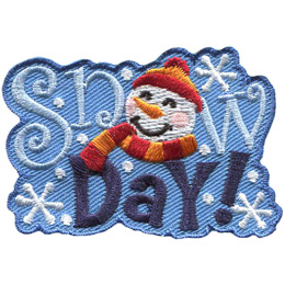 This horizontal patch has the words 'Snow Day!' embroidered amongst falling snowflakes. The 'O' in 'Snow' has been replaced with a snowman wearing a toque and scarf.