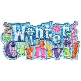 White text with a blue outline spells out 'Winter' and alternating purple, green, orange, pink, and yellow letters spell out 'Carnival'. Winter is stacked on top of carnival. The patch is decorated with snowflakes, streamers, and confetti.
