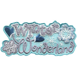 The words 'Winter Wonderland' are stacked on top of each other. The 'W' in 'Wonderland' has arms with mittens on them. A snowflake sits on the bottom left, top right, and center right of this crest.