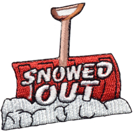 This badge showcases a snow shovel with the red blade planted into a snowbank and the wooden handle sticking straight up. The words 'Snowed Out' are embroidered onto the scoop of this tool.