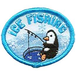 A penguin sits fishing out of a hole in the ice. The words ''Ice Fishing'' arch over the penguin's head.
