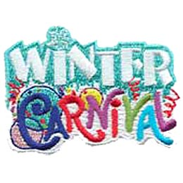 The words Winter Carnival make up the majority of this patch. Winter embroidered in a chilly teal colour and the letter i is dotted with a snowflake. Carnival is embroidered with different coloured threads and in uneven, playful writing. Balloons and streamers decorate the background behind Carnival.