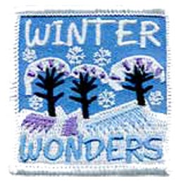 Winter, Wonderland, Wonder, Tree, Snow, Snowflake, Patch, Embroidered Patch, Merit Badge, Iron On, Iron-On, Crest, Girl Scouts, Boy Scouts, G