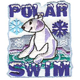 Polar, Dip, Swim, Bear, Lake, Ice, Snow, Winter, Patch, Embroidered Patch, Merit Badge, Badge, Emblem, Iron On, Iron-On, Crest, Lapel Pin, Insignia, Girl Scouts, Boy Scouts, Girl Guides