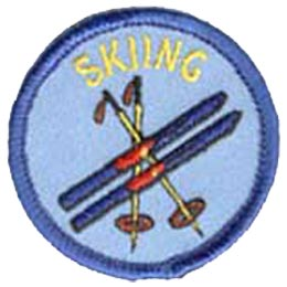 Skiing, Ski, Skis, Poles, Winter, Snow, Mountain, Resort, Patch, Embroidered Patch, Merit Badge, Crest, Girl Scouts, Boy Scouts, Girl Guides
