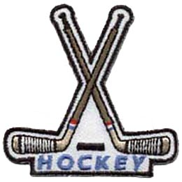 Hockey, Ice, Winter, Sport, Skates, Stick, Helmut, Canada, Patch, Embroidered Patch, Merit Badge, Crest, Girl Scouts, Boy Scouts, Girl Guides