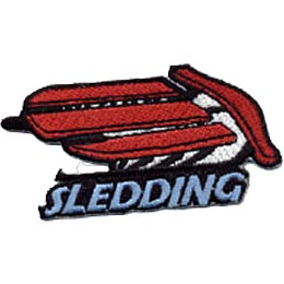 Sledding, Toboggan, Sled, Tube, Winter, Snow, Patch, Embroidered Patch, Crest, Merit Badge, Girl Scouts, Boy Scouts, Girl Guides