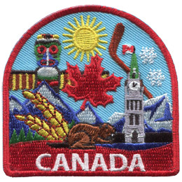 This patch displays a wide variety of Canadian culture including: a beaver, stalks of wheat, a maple leaf, parlament, a hockey stick, a totum pole, sunshine, mountains, snow, and grasslands.