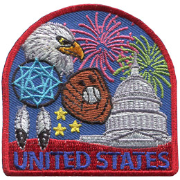 This patch displays a wide variety of American culture including: the White House, a baseball mit and ball, a dreamcatcher with feathers, a bald eagle, Fourth of July fireworks, and stars.
