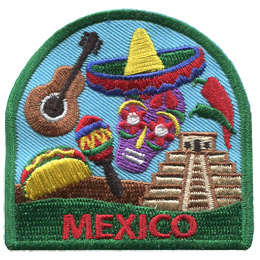 This patch displays a wide variety of Mexican culture including: a vihuela, maracas, a taco, a calavera, a green and red poblano, a sombrero, and the Chichen Itza.