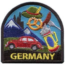 This crest is decorated with objects that Germany is known for. This includes: the alps, a Volkswagen,the Neuschwanstein Castle,Weinersnitchels, and Laugenbrezel. At the bottom of the patch is the word 'Germany.'