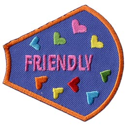 A Girl Is, Girls, Friendly, Hearts, Patches, Sets, Embroidered Patch, Merit Badge, Badges, Emblems, Iron On, Iron-On, Crests, Lapel Pins, Insignia, Girl Scouts, Boy Scouts, Girl Guides