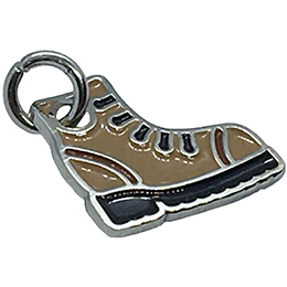 A hiking boot has been turned into a decorative metal charm.