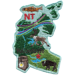 This patch is in the shape of the Canadian territory of Northwest Territories. From top to bottom an Arctic Grayling fish, the aurora borealis, a caribou, a mountain avens flower, and a buffalo are all displayed as well as a star marking the capital of the Northwest Territories: Yellowknife.