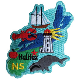 This crest is shaped like the province of Nova Scotia. Decorating it are: the initials NS, a lobster, a lighthouse, an apple, a whale, a sailing ship, the ocean, and the capital city Halifax.
