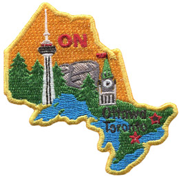 This patch is in the shape of the Canadian province of Ontario. The Canadian Shield, forests, and great lakes are all displayed as well as the parliament building and the CN Tower.