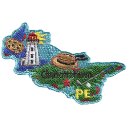 This patch is in the shape of the Canadian province of Prince Edward Island. A potato, lighthouse, wide-brim straw hat, and golf club are all displayed as well as the location of Charlottetown.