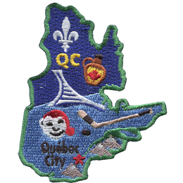 This patch is in the shape of the Canadian province of Quebec. From top to bottom, the Flue-de-lis, a jug of maple syrup, hockey stick and puck, and Bonhomme are all displayed as well as the capital of Quebec: Quebec City.