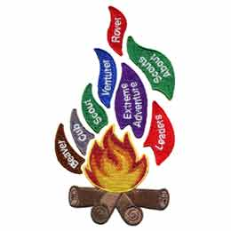 Flames, Scouting, Sparks, Brownies, Pathfinders, Trefoil, Set, Patch, Embroidered Patch, Merit Badge, Badge, Emblem, Iron On, Iron-On, Crest, Lapel Pin, Insignia, Girl Scouts, Boy Scouts, Girl Guides