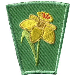 Season, Spring, Summer, Fall, Winter, Flower, Daffodil, Patch, Embroidered Patch, Merit Badge, Badge, Emblem, Iron On, Iron-On, Crest, Lapel Pin, Insignia, Girl Scouts, Boy Scouts, Girl Guides