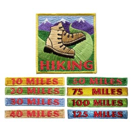 Miles, Rocker, Hiking, Hike, Boot, Mountain, Stream, Path, Patch, Embroidered Patch, Merit Badge, Badge, Emblem, Iron On, Iron-On, Crest, Lapel Pin, Insignia, Girl Scouts, Boy Scouts, Girl Guides