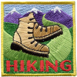 Hiking, Hike, Boot, Mountain, Stream, Path, Patch, Embroidered Patch, Merit Badge, Badge, Emblem, Iron On, Iron-On, Crest, Lapel Pin, Insignia, Girl Scouts, Boy Scouts, Girl Guides
