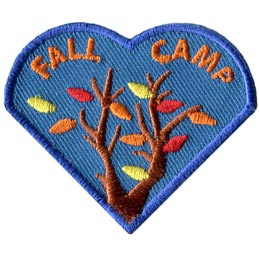 The right heart of the I Love Camping Set has the words 'Fall Camp' and pictures tree branches that are loosing their leaves.