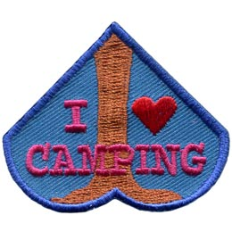 The bottom most heart of the I Love Camping set contains the trunk of a tree with the words 'I Love Camping'.