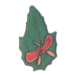 Outdoor, Camp, Canoe, Boat, Lake, River, Paddle, Leaf, Set, Patch, Embroidered Patch, Merit Badge, Badge, Emblem, Iron-On, Iron On, Crest, Lapel Pin, Insignia, Girl Scouts, Boy Scouts, Girl Guides
