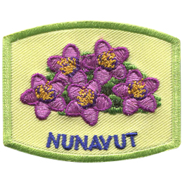 This patch displays Nunavut's provincial flower: the purple saxifrage.