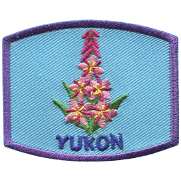This patch displays Yukon's provincial flower: the fireweed (also known as rosebay willowherb and the great willowherb).