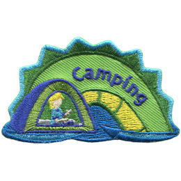 The middle hump of a sea serpent. The words 'Camping' are embroidered along the middle of the hump. A person sitting in a tent rests on the left most section of the hump.