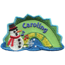 The middle hump of a sea serpent. The word 'Caroling' is embroidered along the middle of the hump. A snowman rest on the left most section of the hump.