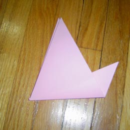 <p>Now, fold lower corner of the top layer upward so that the upper corner peaks out.</p>