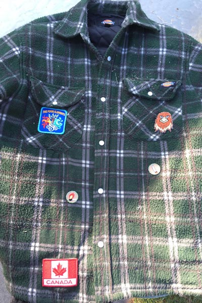Steve's jacket with the Four Elements, Hawk LC, Knife, Match & Fire, and Canada patches.
