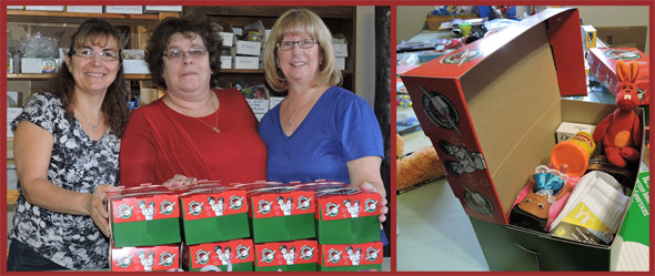 The Fun Patch Team worked together to donate 8 Operation Christmas Child boxes.