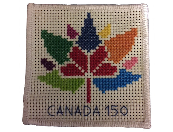 Canada's 150 logo embroidered on a square patch